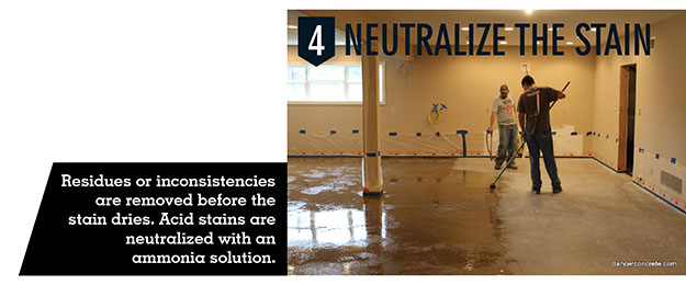 Concrete stain is neutralized with an ammonia solution