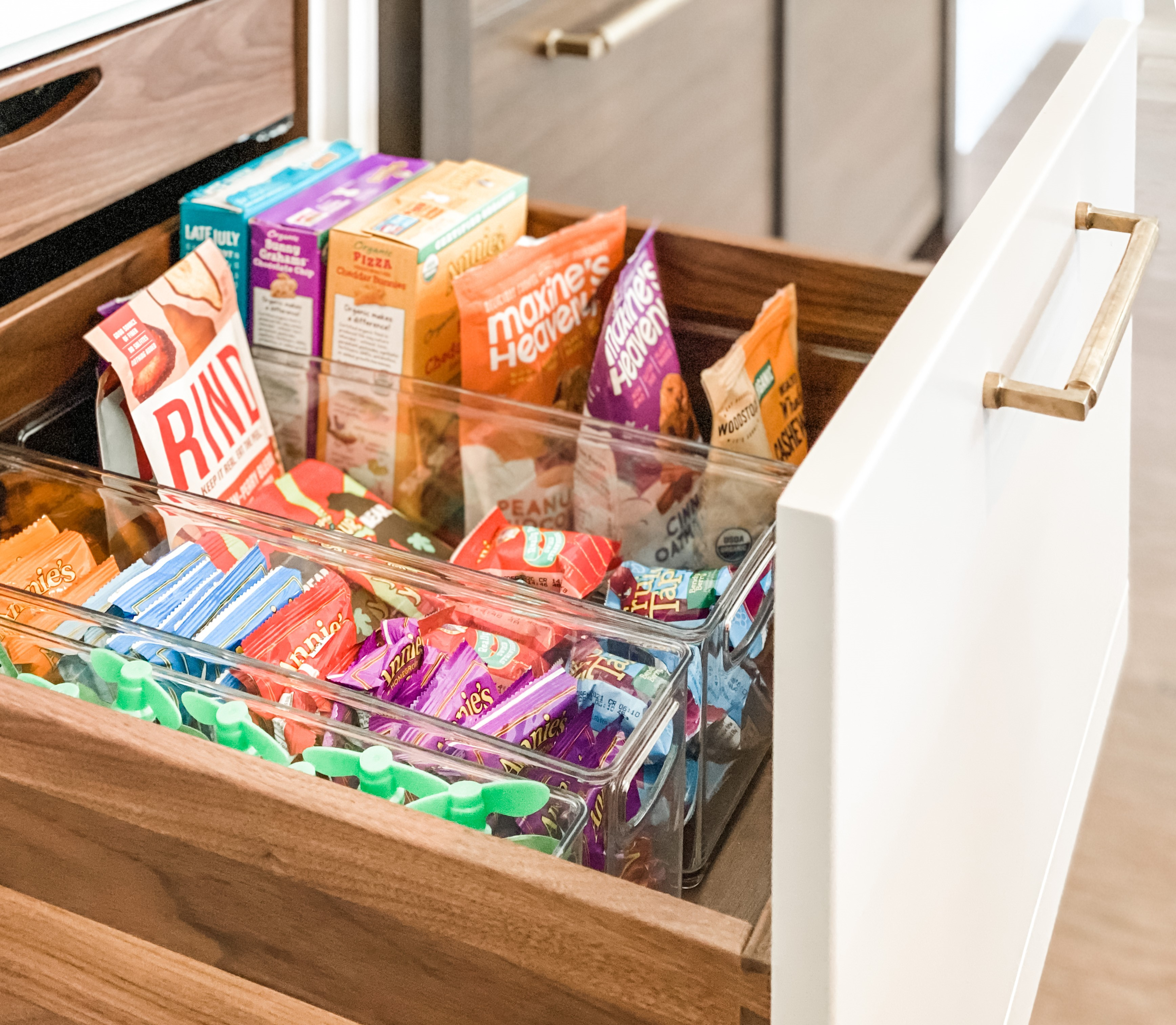 snack drawer with plastic tubs