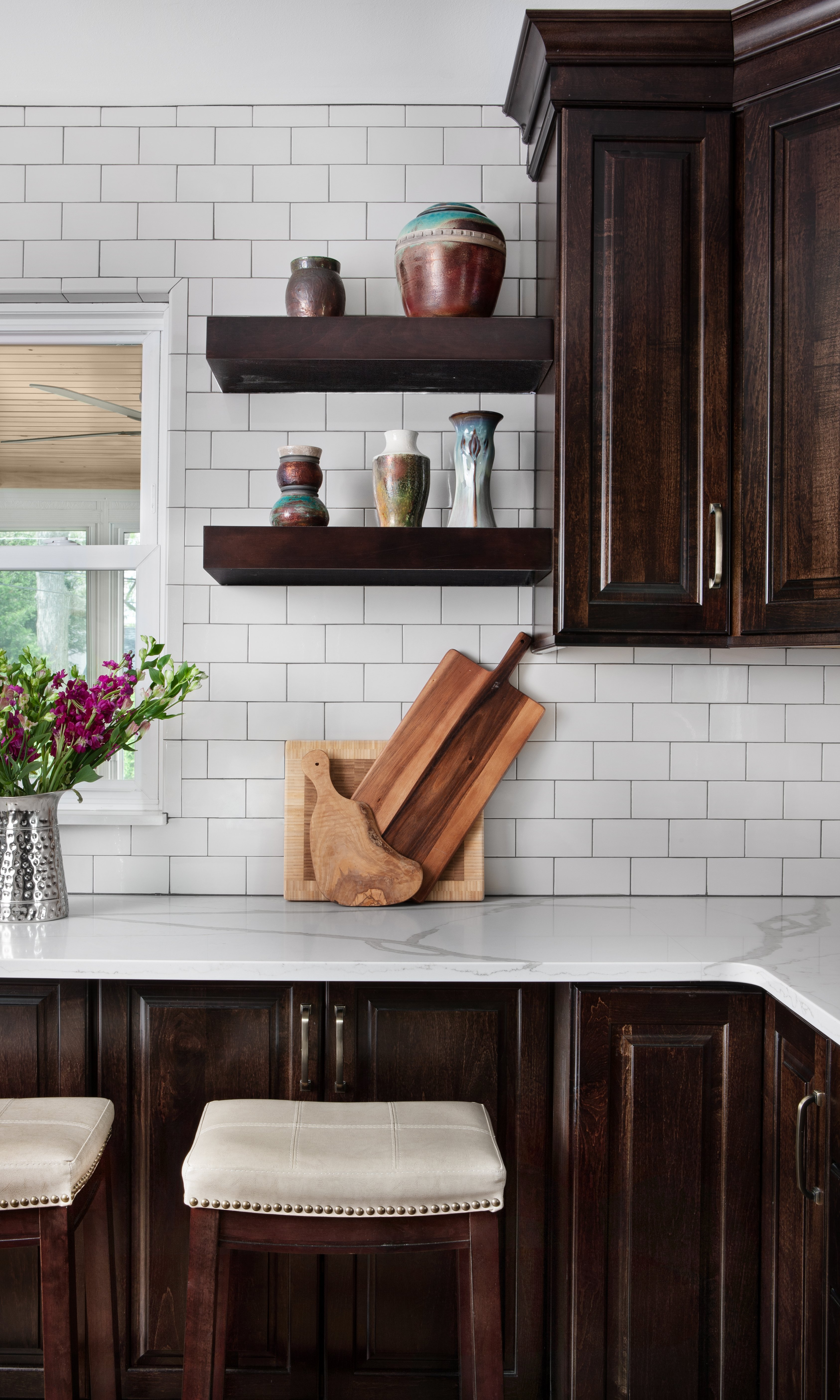 floating shelves-brown-merillat-kitchen-remodel